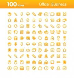 100 icons office vector image vector image