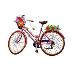 Bike flower and basket vector image