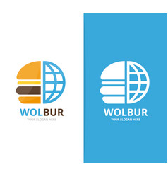 burger and planet logo combination vector image