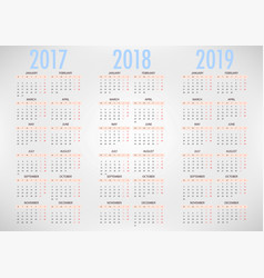 calendar for 2017 2018 2019 on white background vector image