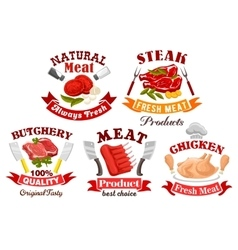 Chicken beef pork meat sign for butchery design vector image vector image