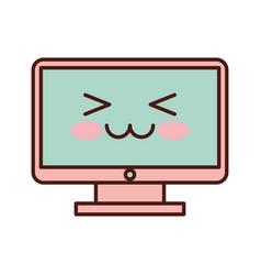 computer desktop kawaii character vector image vector image