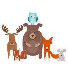 cute cartoon animal characters group vector image vector image