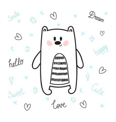 cute hand drawn postcard with funny bear card for vector image