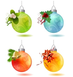 different christmas glass balls vector image vector image