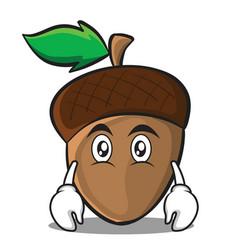 flat face acorn cartoon character style vector image