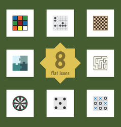 flat icon play set of gomoku cube chess table vector image vector image