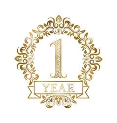 One year anniversary celebration golden vintage vector