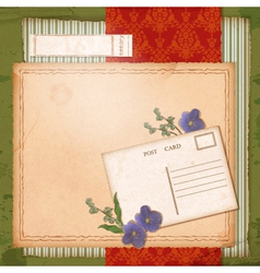 Scrapbook old paper background with dried flower vector image vector image