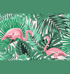 tropical seamless pattern green leaves flamingos vector image vector image