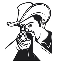 cowboy shooting a rifle vector image vector image