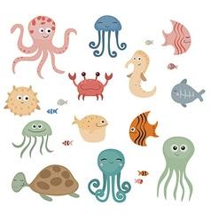 Cute sea creatures vector