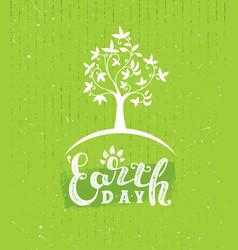 Earth day eco green poster design organic vector