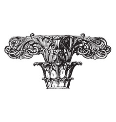 Finial stone roof vintage engraving vector