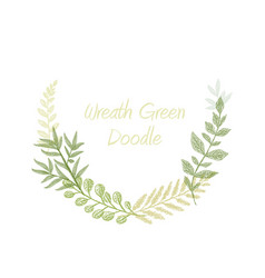 green doodle hand drawn herb border vector image