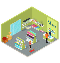 interior pet shop isometric view vector image vector image