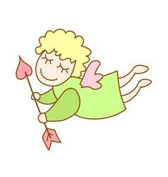 little cartoon flying angel with arrow of Cupid vector image