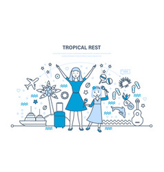mother with daughter rest in warm countries vector image