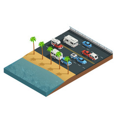 recreational vehicles on road isometric vector image vector image