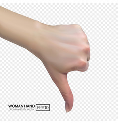 3d female hand shows dislike with thumbs down vector image