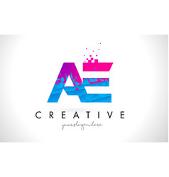 Ae a d letter logo with shattered broken blue vector