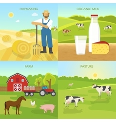 Agriculture Flat Compositions vector image