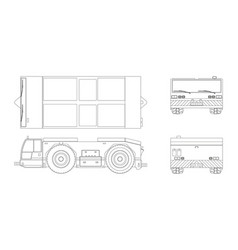 airplane towing vehicle in outline style vector image