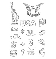 American Doodle set vector image