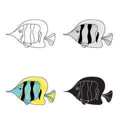 angel fish icon in cartoon style isolated on white vector image vector image