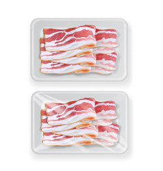 bacon in plastic white food package container vector image