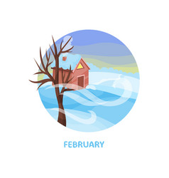 beautiful winter landscape with small house tree vector image
