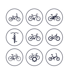 Bicycles cycling bikes icons set vector