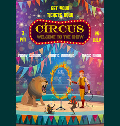Big top circus show animals tamer and jugglers vector