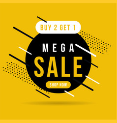 black and yellow mega sale banner buy 2 get 1 vector image