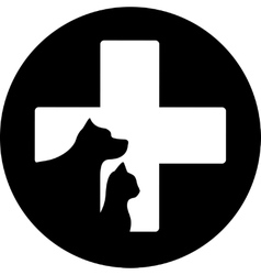 Black round veterinary care icon vector