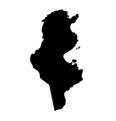 black silhouette country borders map of tunisia vector image
