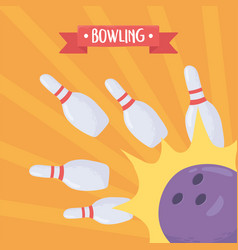 Bowling crashing ball pin game recreational sport vector