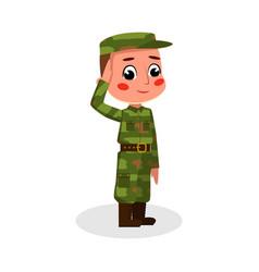 Boy soldier character saluting kids hobor vector