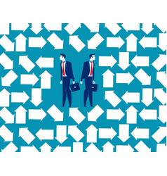 Business people trapped in arrow maze concept vector