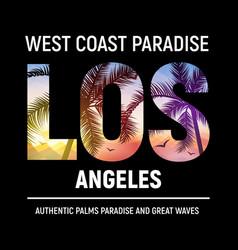 California los angeles beach graphic design t vector