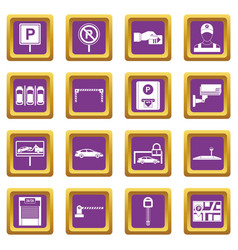 Car parking icons set purple vector