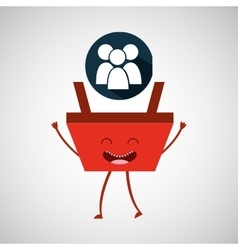 cartoon basket shopping group person vector image