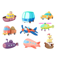 cartoon of various transportation vector image