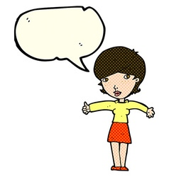 Cartoon woman giving thumbs up symbol with speech vector
