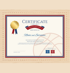 Certificate template in basketball sport theme vector