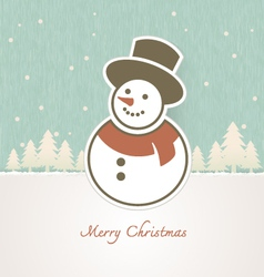 Christmas Snowman with trees covered in snow vector
