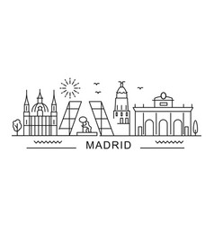 city madrid in outline style on white vector image