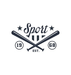Classic Sport Label With Crossed Bats vector