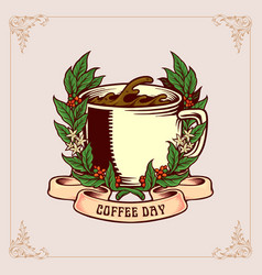 coffee day vintage badge with glass and ribbon vector image