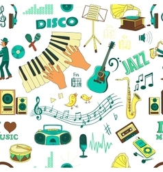 colored hand draw music pattern vector image